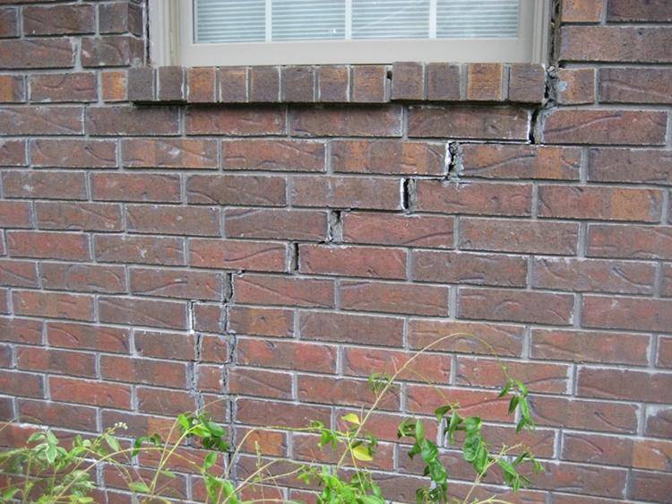 foundation problem cracking brick wall